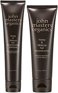 John Masters Organics Honey and Hibiscus Hair Reconstructing Shampoo and Honey and Hibiscus Hair Reconstructor Bundle with Soy Protein and Beech Bud Extract, 6 fl. oz. and 4 fl. oz.