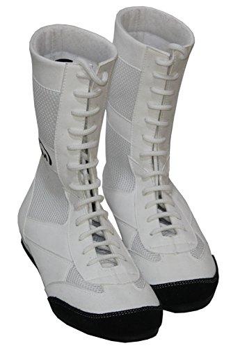 PM Sports Langes Fußkettchen aus echtem Leder, für Boxen/Wrestling-Stiefel, Gummisohle, Obermaterial-Mash – Junior/Jugendliche, Weiß - weiß - Größe: 31 EU
