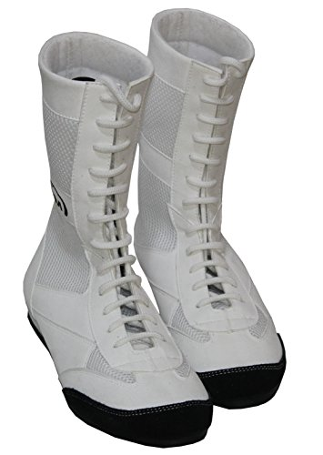 PM Sport - Tobillera larga de piel auténtica para boxeo/lucha libre, suela de goma, para adultos