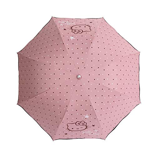 Paraplu's - 1 st Leuke Hello Kitty Meisjes Vinyl Verse Zonnebrandcrème Uv Bescherming Regen Paraplu Vouwen Kinderen D5 - Bulk Meisje Cartoon Cosplay Zwarte Eend Grootte Winddicht Kladblok Prinses Geel Kitty Bl