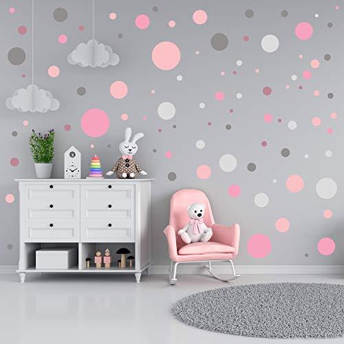 Wandtattoo kinderzimmer deko mädchen - 90 Kreise - Wandaufkleber bunt selbstklebend - Junge - Klebepunkte Wandsticker Set Dots - pastellfarben rosa puderrosa grau - Schälen und Stick