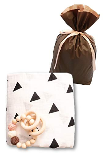 出産祝い 男の子 人気 女の子 木のおもちゃ タオル セット おくるみ オーガニックコットン 誕生日 プレゼント 0歳 1歳 授乳ケープ プレイマット (ホワイト+三角(ギフト袋付き))