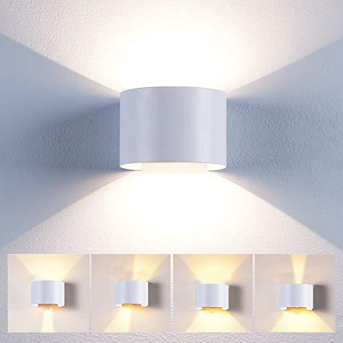 12W Led Wandleuchte Innen/Außen Modern Wandlampe mit einstellbar Abstrahlwinkel Design Aussenleuchte Up Down Wandbeleuchtung 3000K Warmweiß (Weiß)