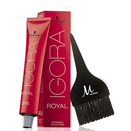 Schwarzkopf Igora Royal 8-00 Light Blonde Natural Extra Permanent Hair Color and M Hair Designs Tint Brush (Bundle - 2 items)
