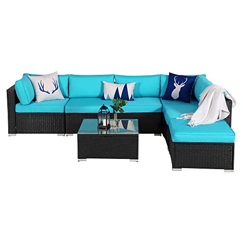 7 Piece Outdoor Patio PE Rattan Wicker Sofa Sectional Furniture Set, All Weather Washable Cushions, Garden Lawn Pool Backyard Sofa Set with Ottoman Coffee Table, Black Wicker Turquoise Cushions