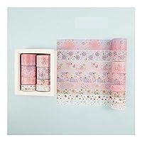 SHUOYUE 8Rolls /設定クレーン和紙テープセットされている用紙祭Manualスクラップブッキング粘着マスキングテープ装飾スティッキー和紙テープ (Color : Pink)