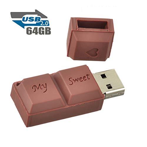Clé USB 64Go Fantaisie Clef USB Chocolat 2.0 Flash Drive Stockage Mémoire Bon Cadeau