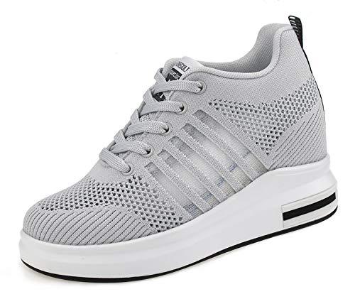 AONEGOLD Zapatillas de Cuña Deportivas para Mujer de Moda Deporte Zapato Transpirables Altas Primavera/Verano Tacón Sneakers 8.5CM (Gris 38 EU)