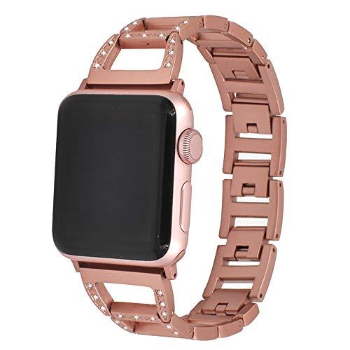 ZZSH Apliqúese A 38M M, Reloj Elegante 1, 2, 3 DE La Manzana De 42 Mm En Nombre De La Correa Universal del Reloj, Tira Trapezoidal del Metal del Diamante del Acero Inoxidable De Iwatch,Rosegold,38Mm