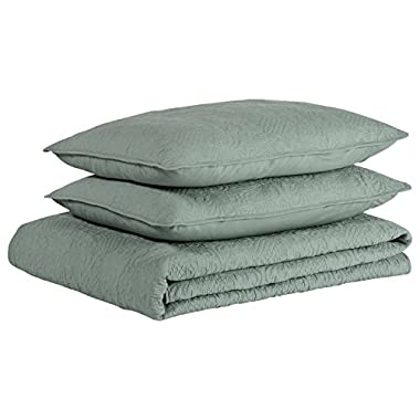 Stone & Beam Vintage-Inspired King Coverlet Set, 102  L X 90  W, Teal
