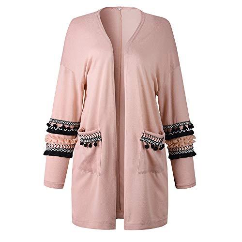 Xmiral Damen Strickjacke, Herbst Langarm Tassel Tops, Damen Gestreifte Tasche Lange Jacke Mantel (XL,Rosa)