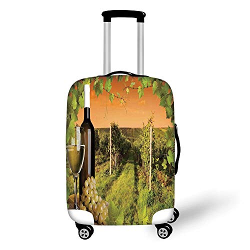 Travel Luggage Cover Suitcase Protector,Winery Decor,Bottle and Glass of Wine and The Vineyards of Sunset Countryside Romantic Evening View,Green Orange,for Travel S