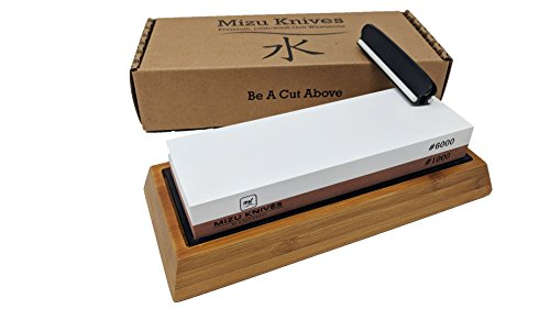 Mizu 1000 / 6000 Grit Premium Whetstone Knife Sharpening Stone Set, Ideal Sharpener for All Blades, Japanese Style Waterstone with Non Slip Bamboo Base, Includes Angle Guide & Instructions