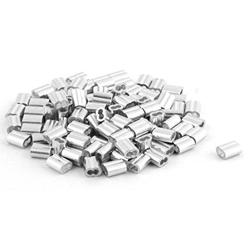 sourcingmap® Aluminium Ferrule Hülsen Beschläge Klemmen für 2mm Durchmesser Stahl Drahtseil de
