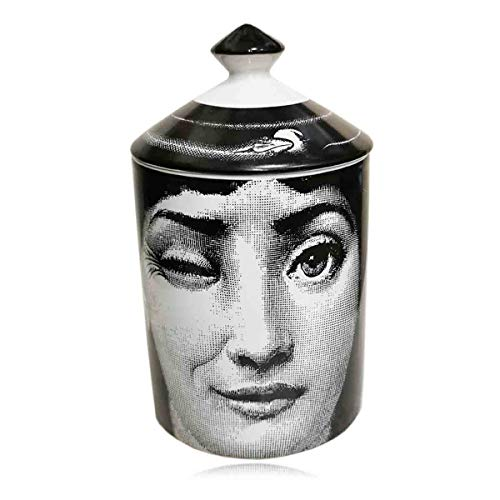 Lina Cavalieri Jar Diy Empty Candle Holder Beauty Dressing Brush Pen Box with Lid Ceramic Storage Tin Flower and Face Bottle (c)