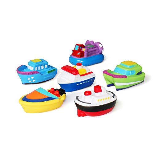 JUNSHEN Juguetes de baño(6PCS), Juguetes del Barco de la bañera Juguetes para el baño Suave, Juguetes para el Agua de Aprendizaje de la bañera y Juguetes para niños pequeños