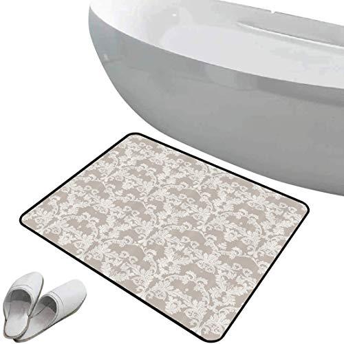 Alfombra de baño antideslizante Gris pardo suave antideslizante Patrón temático de jardín...