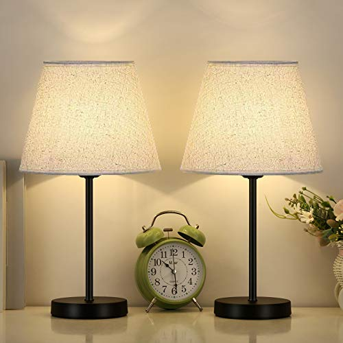 Table Lamps Bedside Lamps Set of 2 Desk Lamps Small Nightstand Lamps with Linen Fabric Lamp Drum Shade for Bedrooms Office Girl Kids