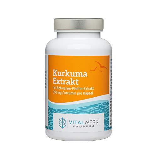 Vitalwerk Hamburg® Kurkuma extract met peper-extract – 120 veganistische capsules (voor 4 maanden) – 100% kurkuma-extract – slechts 1 capsule per dag – 100% veganistisch, streng gecontroleerd en uit Duitsland.