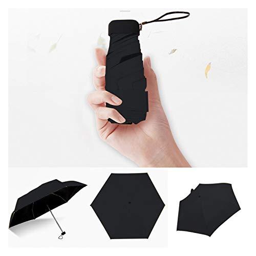 SRQOESFF Paraguas Paraguas Plana Ligera Fresca pequeña Parasol Plegable Paraguas de Sun Mini Paraguas no automático Unisex Paraguas Refugio de la Lluvia (Color : Black)