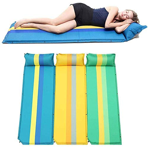 YXDEW Self-Inflating Mats Compact Outdoor Inflatable Foam Sleep Mat Air Mattress Sleeping Pad Waterproof Foldable Self-Inflating Camping Pads With Pillows Splicing Combination For 3 Person camping