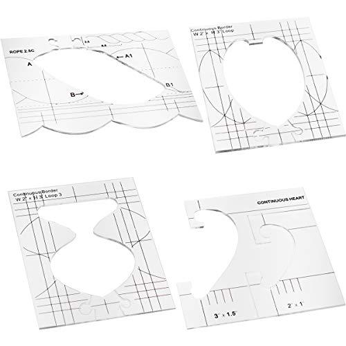 Acmerota Plantilla de acolchado de movimiento libre, 4 formas diferentes, marco de acolchado para regla de máquina de coser doméstica, conjunto de plantillas de muestra de borde para regla