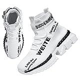 Hombres Zapatos Altas para Caminar Moda Entrenadores Correr Atlético Antideslizante Plataforma Calcetines Calzado Elegante Casual Fitness Deportes cómodos (42,Blanco)