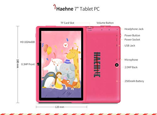 Haehne Tablet PC 7 Zoll Android Tablet mit HD Displays, Google Android 9.0 System, Zwei Kameras, Quad Core 1GB RAM 16GB ROM, GMS Zertifiziertes, Rosa