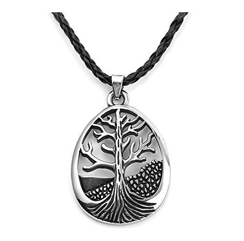 Présent Pendentif Vikings Runas amuleto colgante collar hueco de plata nórdica El árbol de la vida nórdica Runas Talisman 22' 17g pulgadas cadena de los hombres de joyería ( Metal Color : Silver )
