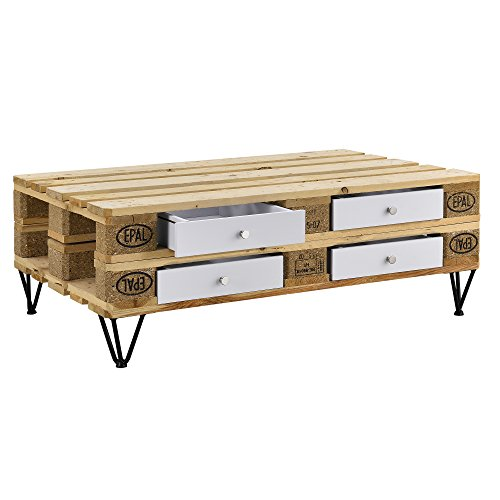 [en.casa] Schublade für Europaletten Weiß Perfekt Integrierbar mit Führungsschienen und Befestigung Palettenmöbel