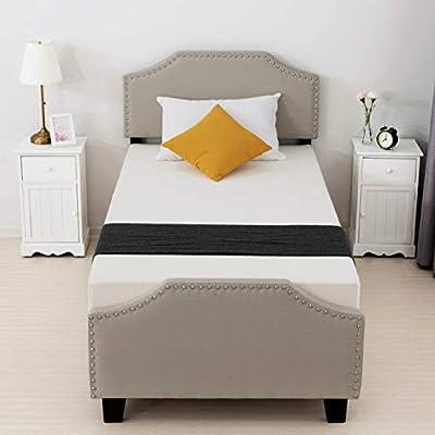 LAGRIMA Upholstered Linen Platform Bed, Twin/Full/Queen