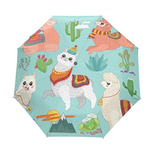 Suzanne Betty Paraguas plegable de viaje con cierre automático lindo divertido alpaca cactus llama a prueba de viento compacto plegable paraguas de viaje