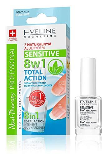 Eveline - Acondicionador para uñas sensibles, endurecedor intensivo, Acción Total 8 en 1, 12 ml