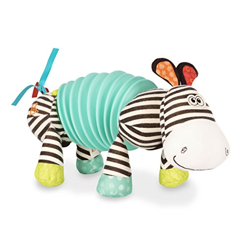 "B. toys by Battat – Musical Accordion Zebra Plush – Sensory Toy – Non-Toxic, Multicolor, 10"" x 6"" x 4"" (BX1534GTZ)"