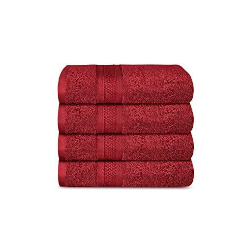TRIDENT Juego Toalla de Mano - Soft & Plush - 100% algodón, 500 gsm, 4 Pieza Juego Toallas de Mano, súper Absorbente, Ultra Suave (Carmesí)