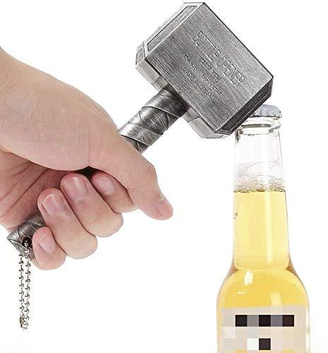 Thor Hammer Abrebotellas Abrebotellas Gran Bar Vino Mjolnir Quake Abrebotellas de Cerveza Martillo de Thor Abrebotellas en Forma Bares y Uso doméstico (Plata)