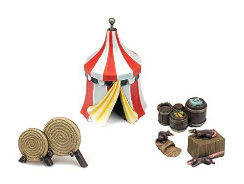War World Gaming Medieval Siege Zelt, Fass und Bogenschießen Set - 28mm Fantasie Tabletop Gelände Modell Diorama Modellbau