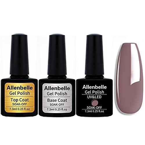 Allenbelle (Base & Top Coat + one colore) Smalto Semipermanente Nail Polish UV LED Gel Unghie Base Coat&Top Coat (Kit di 3 pcs 7.3ML/pc) (579)