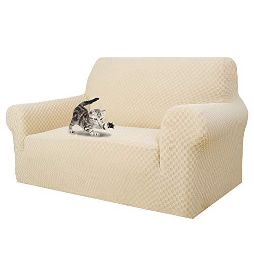 MAXIJIN Fundas para sofás más recientes para 2 plazas, fundas para sofá jacquard superelásticas para perros (2 plazas), color beige claro