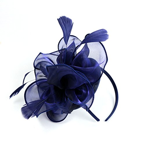 Frcolor Pluma de flor Fascinator Diadema Cóctel Fiesta Tocado de pelo de...