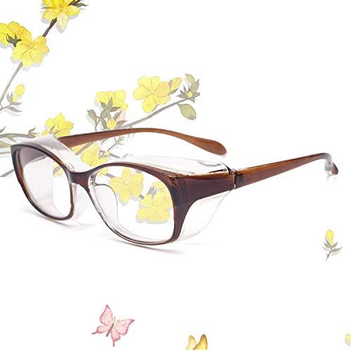 JIMMY ORANGE花粉症 メガネ ゴーグル [ ドライアイ ブルーライト 紫外線 粉塵 PM2.5 対策にも オススメ ] 目立たない 曇らない おしゃれ レディース 眼鏡102 (ブラウン)