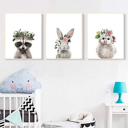 LLXXD Hochauflösende Moderne Malerei Tierblumen Kinderzimmer Wandbilder Kaninchenmalerei Leinwand Wandkunst Bilder-40x60cmx3 (kein Rahmen)