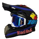 Cascos de Motocross,modulares Cascos CertificacióN DOT/ECE Four Seasons Large Rally Casco Mountain Bike DH Casco de descenso Guantes de gafas Red Bull A,S