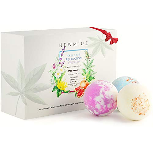 New Muiz Bath Bombs Gift Set 6 Large Hemp Bubble Spa Fizzies with Shea Butter, Lavender, Hemp and Essential Oils, Perfect for Bubble & Spa Bath. Handmade Birthday Mothers day Gifts idea For Her/Him