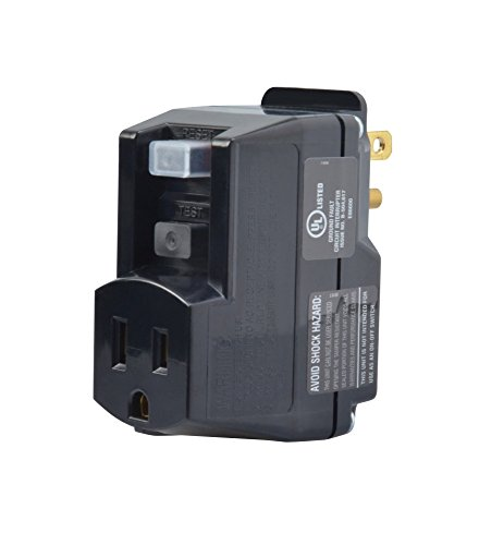 Yellow Jacket 2762, 120-Volt, 15-Amps, 1800-Watts Single Outlet GFCI Adapter, For Indoor Use With Manual Reset, Black