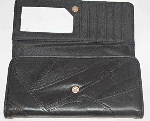 Porta-monete con scomparti, per euro, in pelle, motivo: patchwork