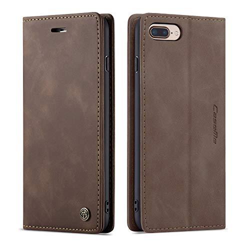 QLTYPRI Hülle für iPhone 7 Plus 8 Plus, Vintage Dünne Handyhülle mit Kartenfach Geld Slot Ständer PU Ledertasche TPU Bumper Flip Schutzhülle Kompatibel mit iPhone 7 Plus 8 Plus - Kaffee Braun
