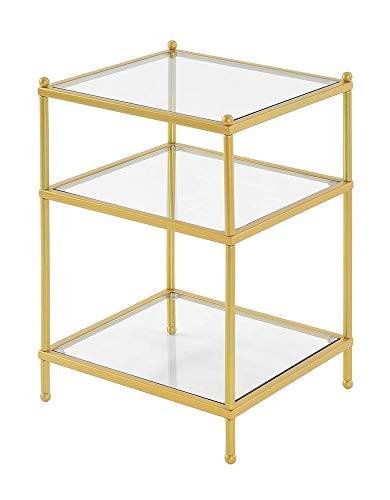 Convenience Concepts Royal Crest - Mesa auxiliar (cristal), color dorado