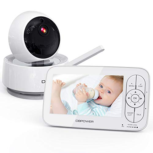 """Video Baby Monitor, 1080P 5"""" HD Display Baby Monitor with Camera and Audio, Night Vision, Two-Way Audio, Up to 900ft of Range by DBPOWER"""