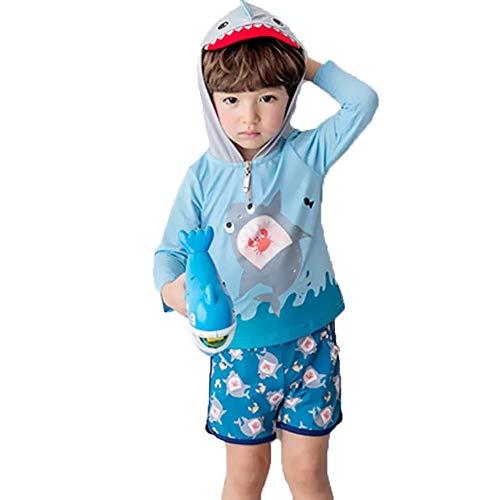 S&C Live 男の子水着セット セパレート 帽子付長袖 半ズボン 日焼け止め 速乾 かわいいサメ柄 保育園 プール用 スイムウェア 海水浴 ビーチ 水遊び スイミング 水泳#17885 (身長110-120cm, 15号デザイン)